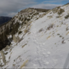 South peak trail with the summit in view. February 2020 trail conditions.