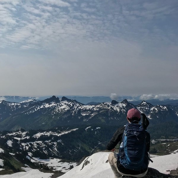 The view looking out from Mount Rainier on the Upper Skyline Trail.