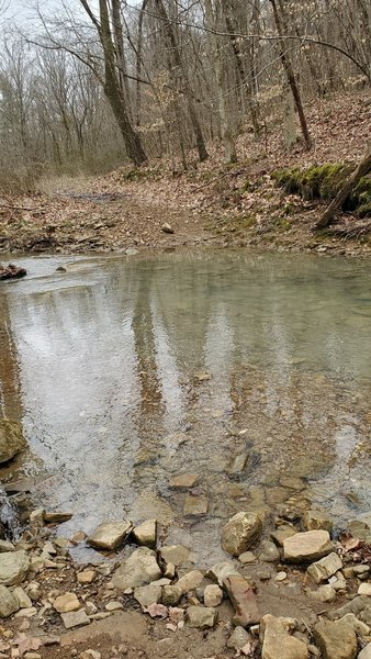 """Shallow creek crossing a day after a 1/2"""" of rain"""
