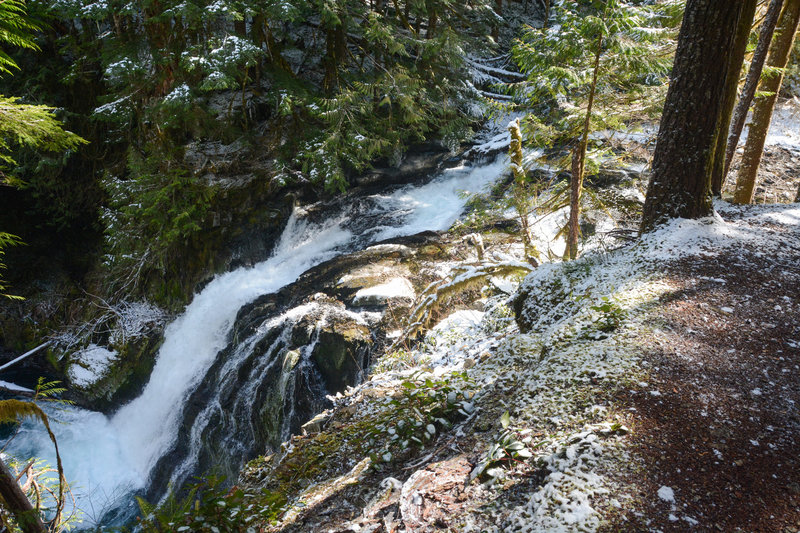 The Middle Siouxon Falls from above via a clear spot along the trail