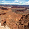The most colorful rocks are almost 2,000 feet below as you stand on the edge of Dead Horse Point Overlook