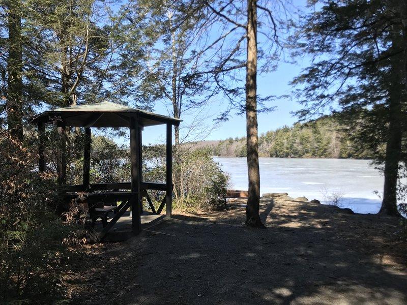The gazebo on Upper Highland Lake.