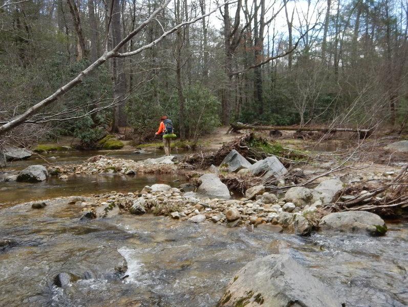 Crossing Harper Creek on Raider Camp / Mountains to Sea Trail.