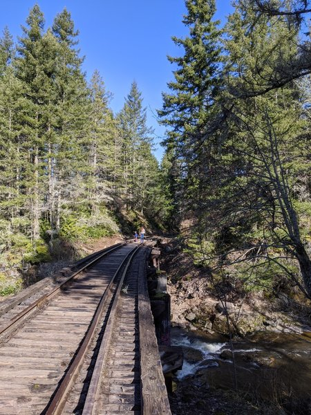 Railroad bridge that you cross at the start.