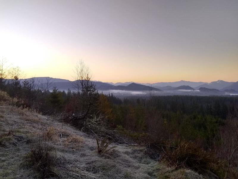 View south of the mountains and valley at sunrise from the 2080 Road.