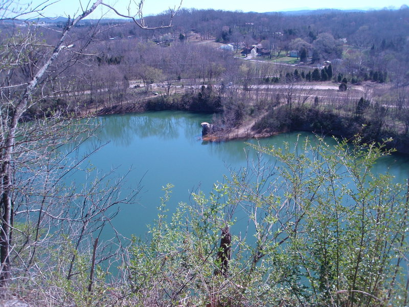 The view from the scenic overlook past the cemetary. The rock sticking out is Pinkston Pointe.