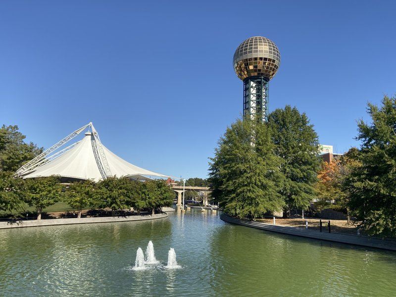 The Sunsphere shines over the amphitheater at World's Fair Park in Knoxville, Tennessee