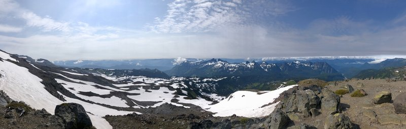 Panoramic view looking out from the Skyline Trail on Mount Rainier.