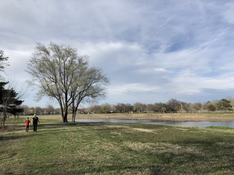 """walking around the """"lake""""...which is overflow that holds water when the Cowskin Creek floods."""