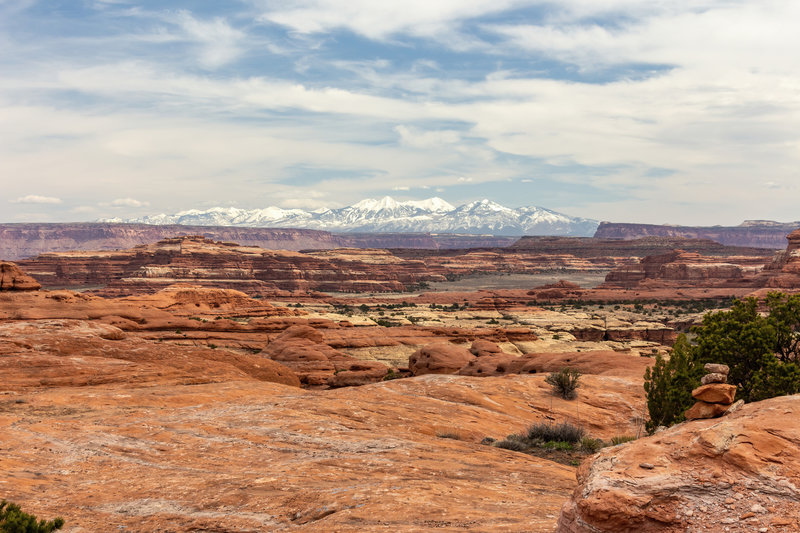Snow covered La Sal Mountains across the canyons in the Needles District