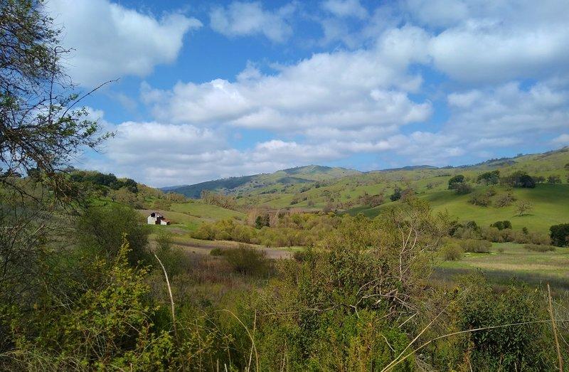 Snell Barn is nestled in the Diablo Range hills of Joseph D. Grant County Park. Springtime along (Lower) San Felipe Trail.