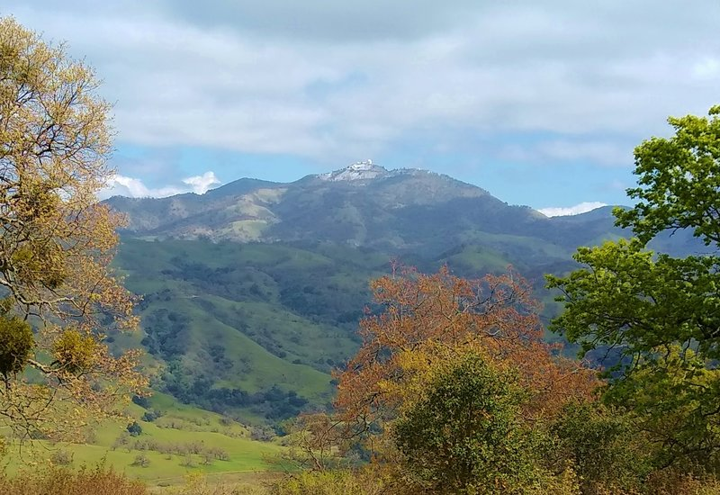 Mt. Hamilton, 4,265 ft., with a dusting of snow and Lick Observatory on its summit, is seen to the northeast from high on Dutch Flat Trail.