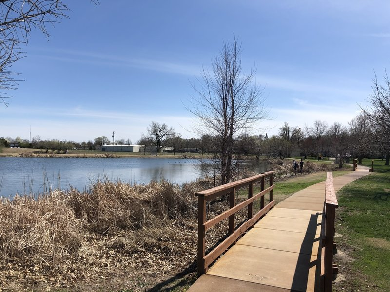 There is a nice walking path around the fishing pond