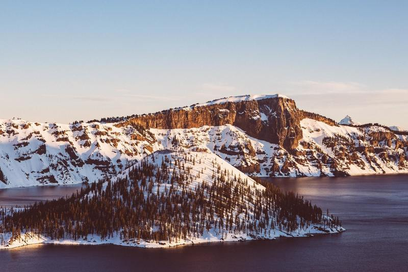 Snow covered mountains at Crater Lake