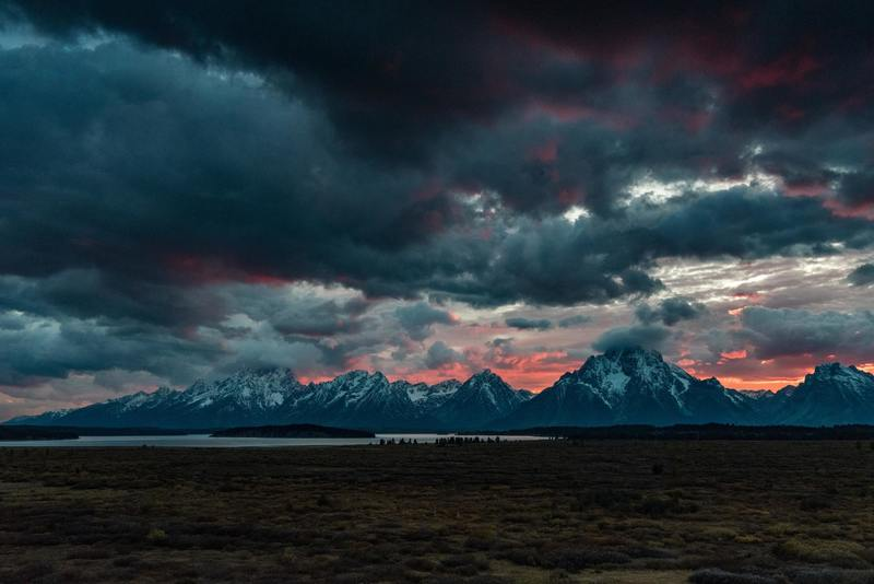 This shot is taken from the back deck of the Jackson Lake Lodge in Grand Teton National Park.