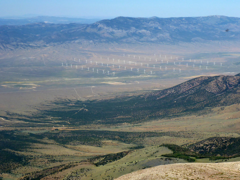 Looking northeast at the wind turbines in Spring Valley