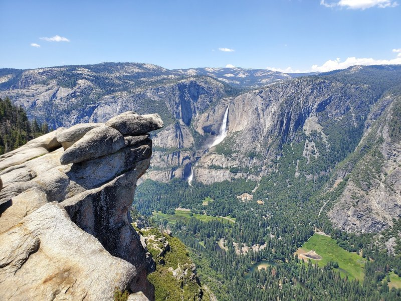 Yosemite Falls and the valley floor from Glacier Point