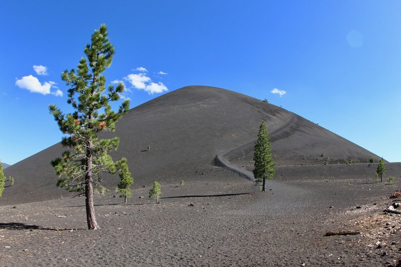 View of Cinder Cone and its trail
