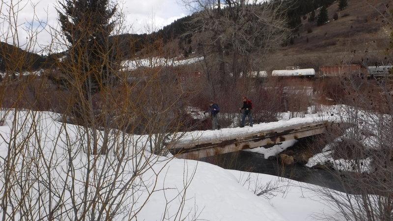 At the trailhead, bridge crossing Rocky Creek.