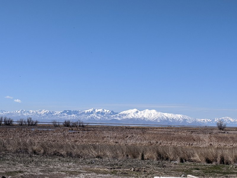 Oquirrh Mountains from the Farmington Bay bird sanctuary.