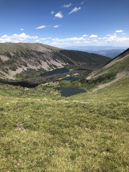Almost at the top of the pass. Views of Brush Creek Lakes (Lower) and a small pond (upper)