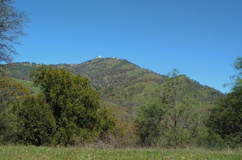 Mount Hamilton, 4, 265 ft., and Lick Observatory are seen nearby to the northeast, from Manzanita Trail.