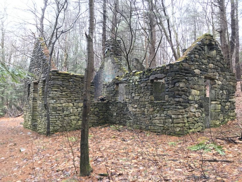 The ruins of an old stone building.