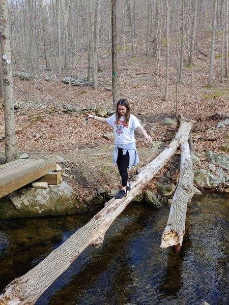 Amanda is crossing over the creek!!