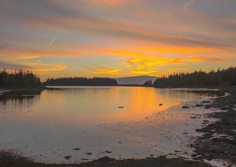 I captured this sunset on the National Park Service's Loop Road around the Schoodic Peninsula, which is part of Acadia National Park.
