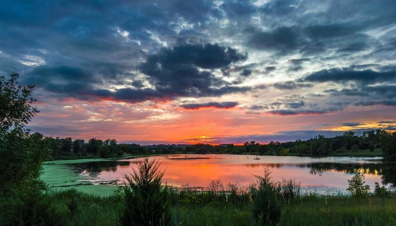 Sunset over a lake in Nebraska