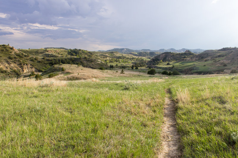 Hiking Talkington Trail, in Theodore Roosevelt National Park, North Dakota