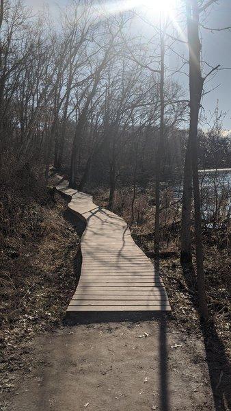 One of many boarded pathways alongside the lake