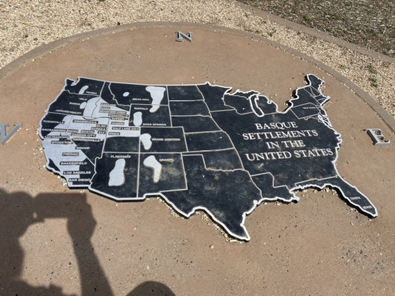 Graphic at the monument showing where the basque peoples have settled.