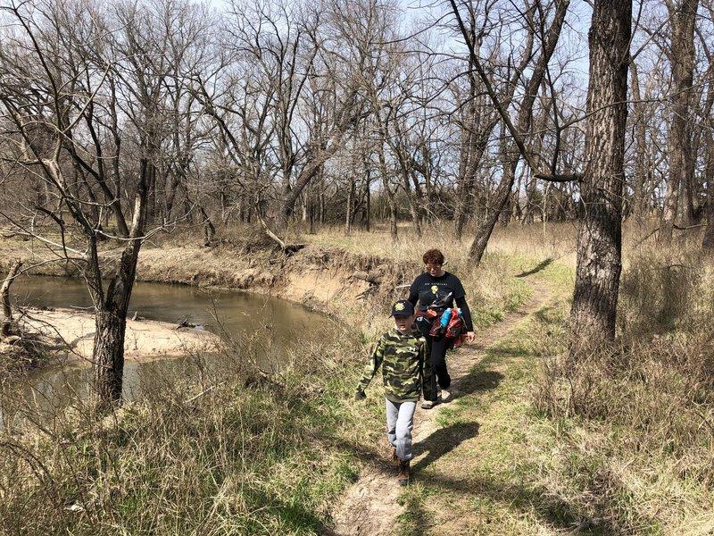 Woods trail along the creek