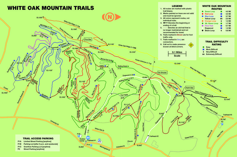 Official trail map for the White Oak area