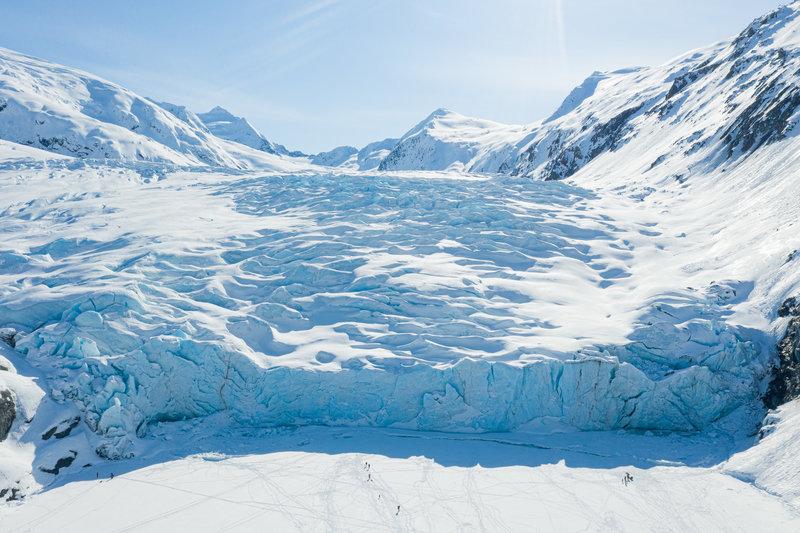 Aerial of Portage Glacier in winter.