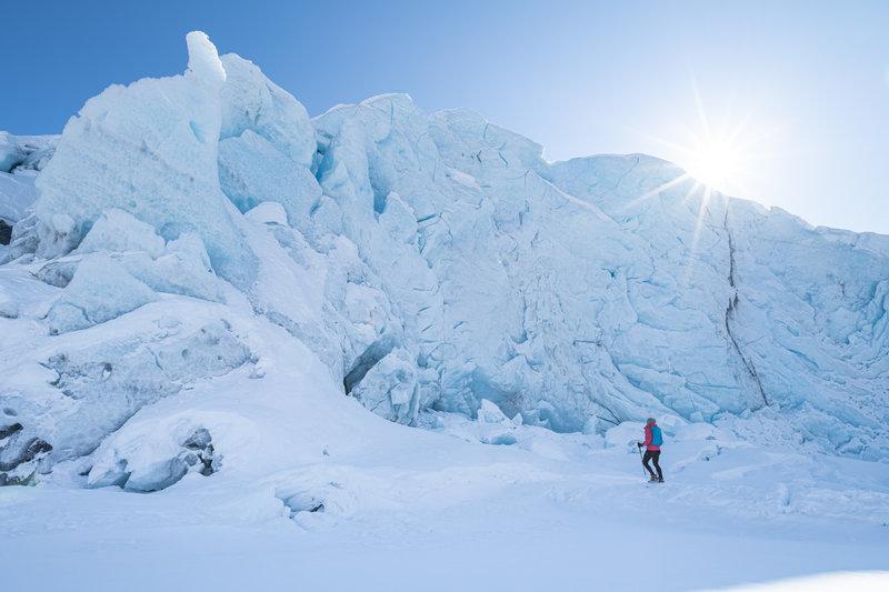 Exploring Portage Glacier in winter.