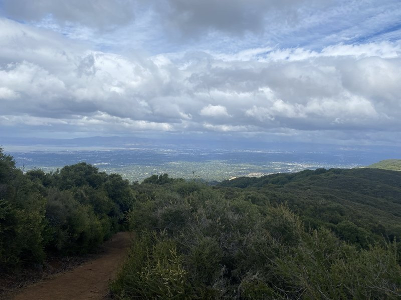 The quarry trail climbs high above Silicon Valley, offering sweeping views of the South Bay.