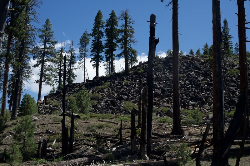 A view of the area's volcanic past can be seen along the trail.