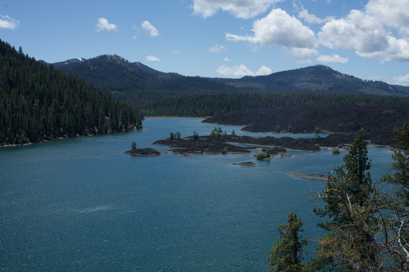 The view from the trail is amazing.  You can see where the Fantastic Lava Beds come right up to Butte Lake.