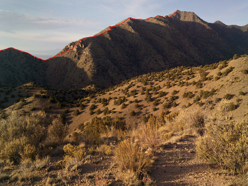 Late afternoon view of the Rincon Ridge with trail marked in red.