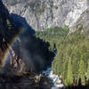 A partial rainbow above a very misty Vernal Falls