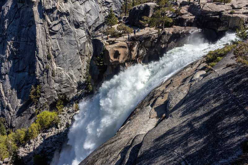 A small platform lets you get very close to the edge of Nevada Falls