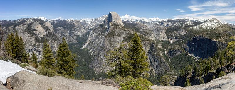 Panorama across Tenaya Canyon, Half Dome, Vernal and Nevada Falls, and Mount Starr King