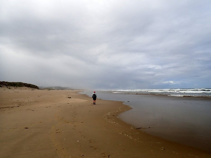 Walking south along the beach at low tide