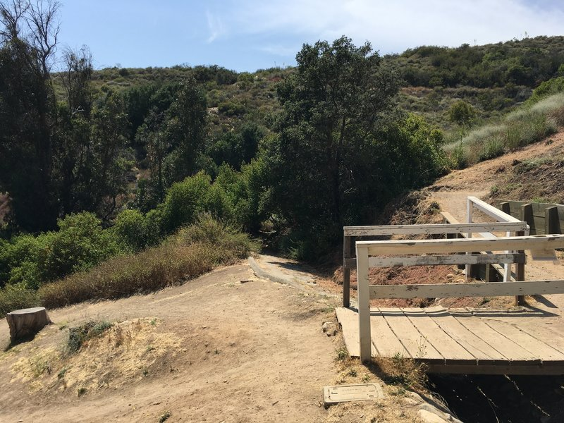 The Rivas Canyon trailhead at Will Rogers isn't obvious. Walk past the park office, tennis court, and bridge to go down the paved path straight ahead.