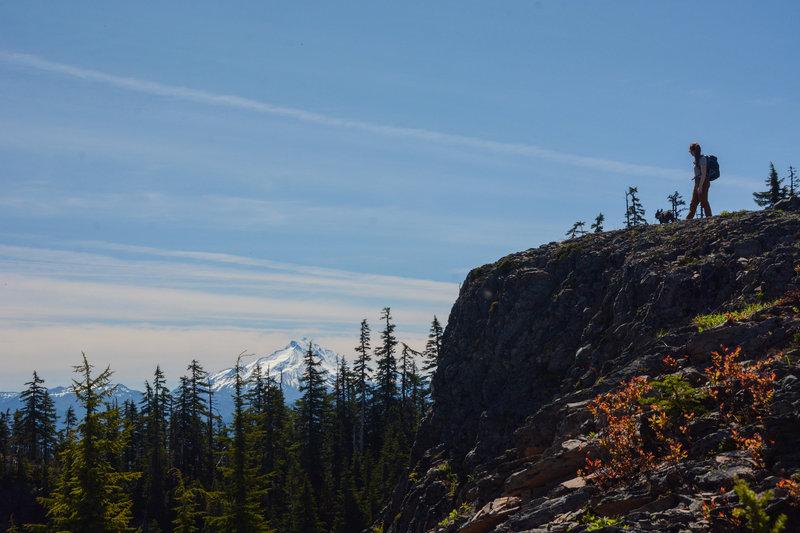 An open ridge on Mount Beachie with a good view to Mount Jefferson
