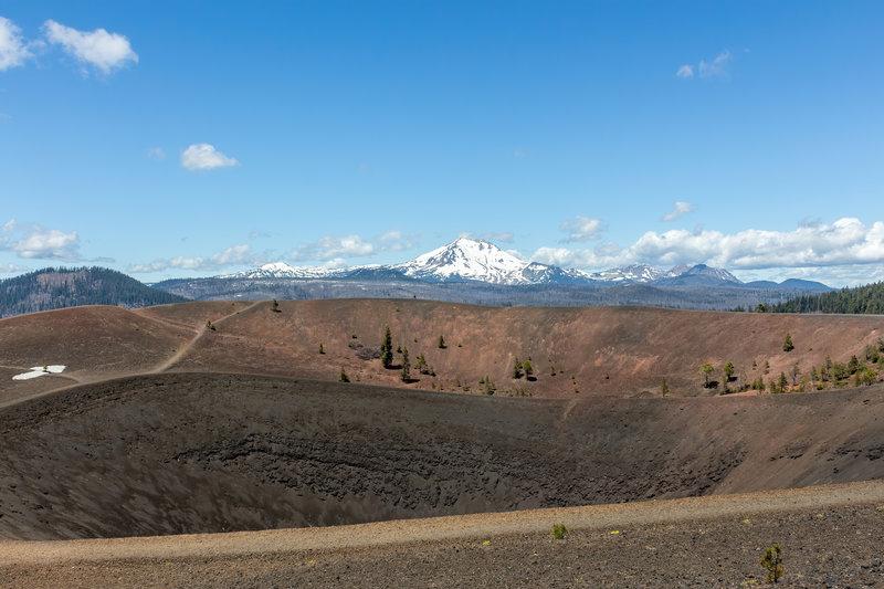 Lassen Peak across the Cinder Cone crater