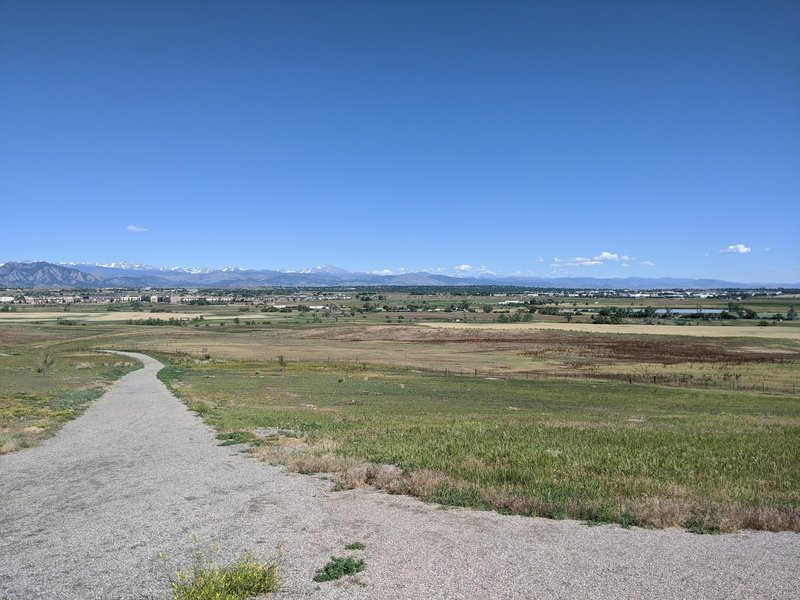 View of the front range early on Lake Link trail.