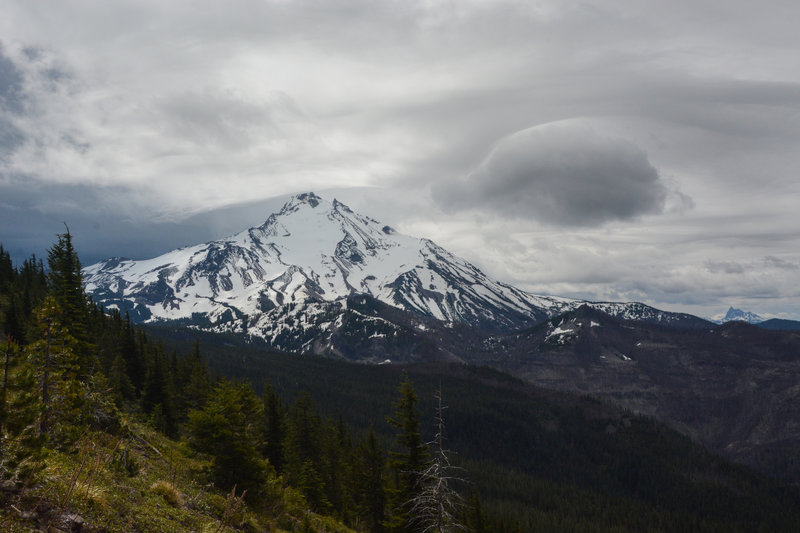 Mount Jefferson and Three Finger Jack on a cloudy day.